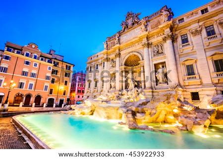 Rome, Italy. Stunningly ornate Trevi Fountain and Poli Palace  (1762) illuminated at night in the heart of Roma. #453922933