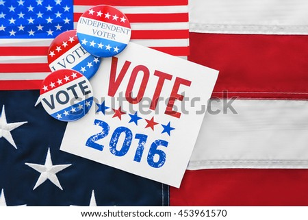 American vote badges on national USA flag background #453961570