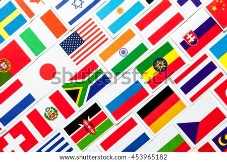 Background of different colorful national flags of the world. Diagonal collage