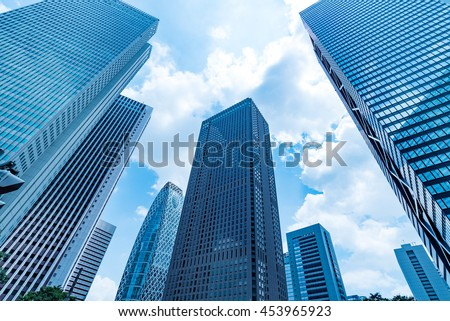 High-rise buildings and blue sky - Shinjuku, Tokyo, Japan #453965923