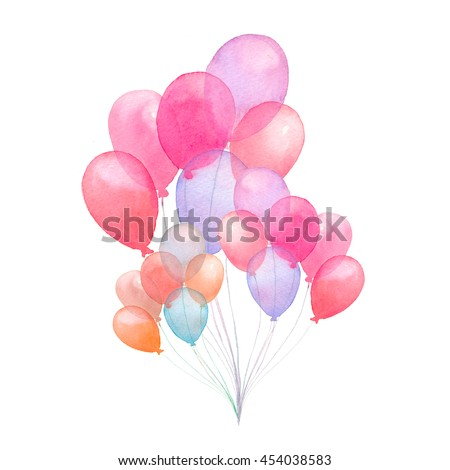 Watercolor air balloons. Hand drawn pack of party pink, blue, purple, red balloons isolated on white background. Greeting object art