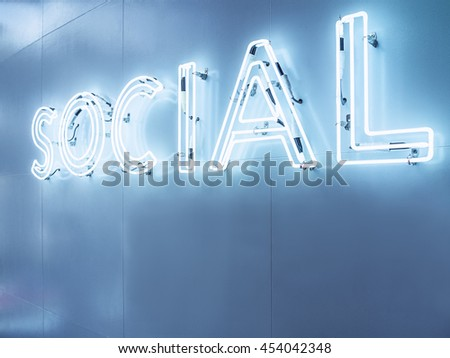 Social Media Type font Neon sign light Blue tone Signage on wall in Perspective