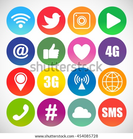 Set of social networking icons.  Web design flat icons isolated on white background #454085728