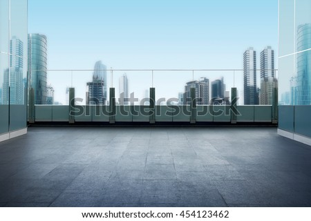 Roof top balcony in the building with cityscape background #454123462