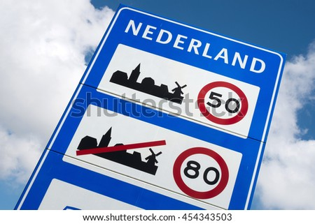 Dutch road sign: general speed limits