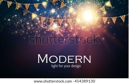 Abstract Shining Party Background with Gold Flags and Flash Light. Christmas Design. Vector illustration   Royalty-Free Stock Photo #454389130