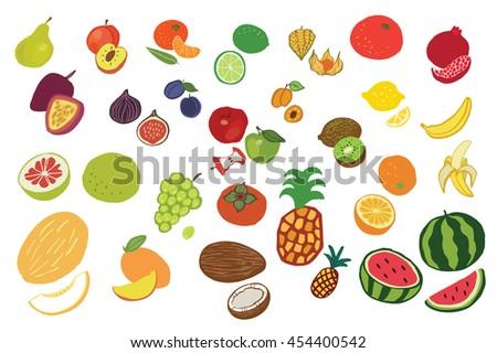 fruits graphic color set #454400542