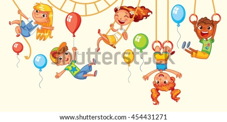 Children have fun on the rides. Amusement park. Playground. Kid weighs on the rings upside down. Climbing up along the rope. Swinging on swing. Vector illustration. Isolated on white background