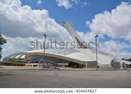 MONTREAL QUEBEC CANADA JULY 15 2016: Biodome that allows visitors to see four ecosystems of America. The building was constructed for the 1976 Olympic Games as a velodrome #454454827