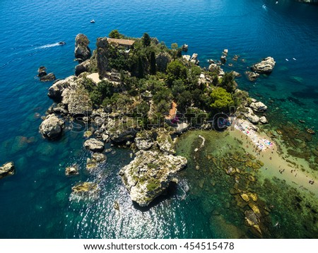 Aerial View of beach and island Isola Bella at Taormina, Sicily #454515478