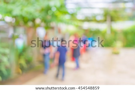image of blur people walking on street with sunny day in green park for background usage . #454548859