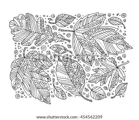 Forest leaves pattern, maple, oak, linden. Vector. Hand drawn artwork. Set collection. Bohemia concept for invitation card, ticket, branding. Coloring book page for adult. Black and white