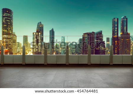 Roof top balcony in the building with cityscape background #454764481