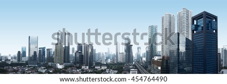 Building and traffic of Jakarta city, Indonesia Royalty-Free Stock Photo #454764490