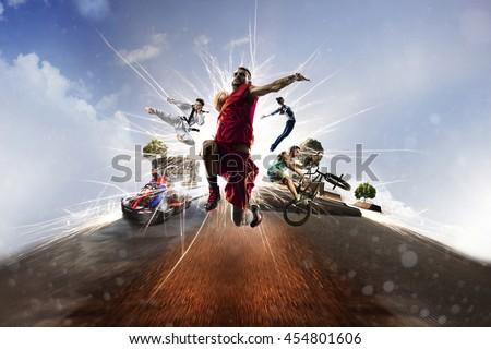 Multi sports collage gokarting basketball bmx batut karate #454801606