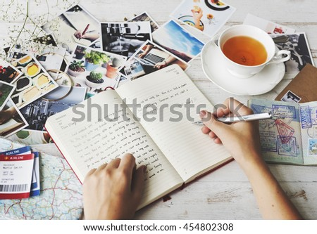 Hands Writing Travel Journal Tea Concept Royalty-Free Stock Photo #454802308