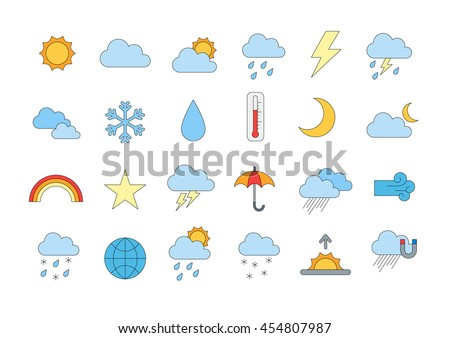 Set of 24 Weather forecast colorful icons #454807987
