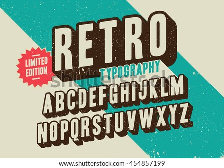 Vector of stylized retro font and alphabet Royalty-Free Stock Photo #454857199