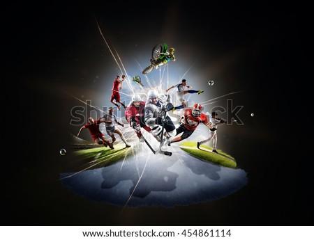 Multi sports collage soccer basketball hockey footbal baseball dirt bike #454861114