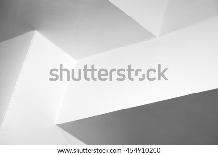 Abstract architecture background, white interior design with corners, black and white photo #454910200