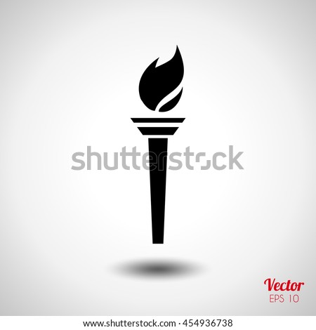 Torch icon. Symbol fire hot, flame power, flaming and heat, vector illustration. Rio 2016 isolated torch. Summer Olympic games 2016 torch. Sport Brazil torch. Torch for Print, web design advertising.