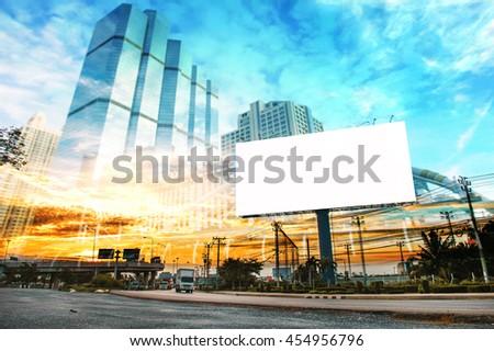 billboard blank for outdoor advertising poster or blank billboard at night time for advertisement. street light.. #454956796