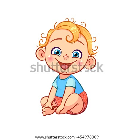 Cute happy smiling little baby boy. Adorable sitting and laughing cartoon toddler character. Baby emotions. Colorful vector illustration  isolated on white background.