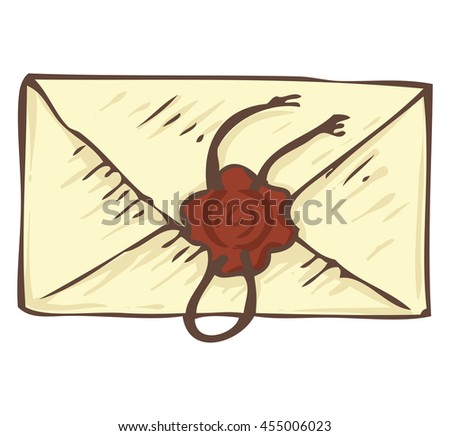 Closed Vintage Envelope with Brown Wax Stamp. Isolated on a White #455006023