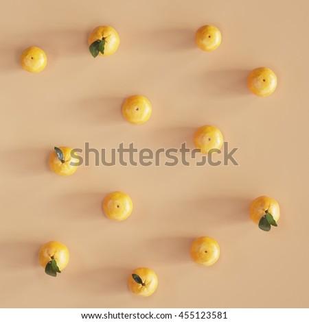 Minimal set :  Orange on pastel orange background. Flat lay , top view. #455123581