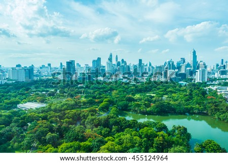 Beautiful Bangkok city skyline around lumphini park in Thailand #455124964