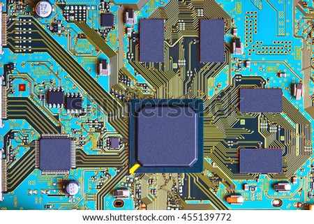 Electronic circuit board close up. #455139772