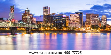 Portland water front cityscape  at night with reflection on the water,Oregon,usa.