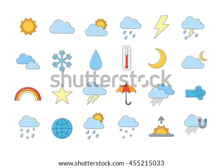 Set of 24 Weather forecast vector icons #455215033
