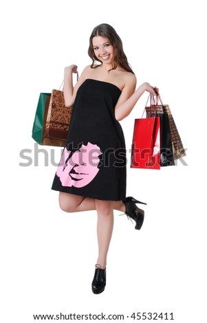 Happy woman on shopping #45532411