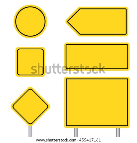 Blank multiple size of yellow transportation sign set with pole #455417161