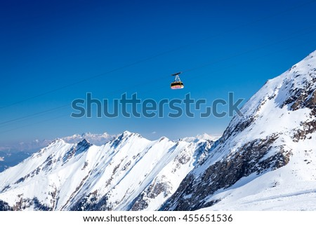 KAPRUN, AUSTRIA - MARCH 20, 2016: Cable car (Gipfelbahn) to Kitzsteinhorn peak during sunny wather in spring season 2016 #455651536