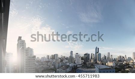 Panoramic cityscape of Bangkok city in sunrise, vintage tone #455711983