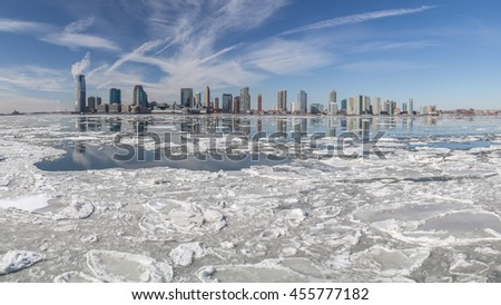 Hudson River In Winter. View from Manhattan (New York City) to Jersey across the Hudson river in winter. February 2015.