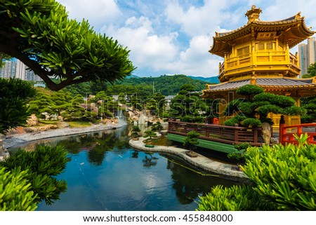 Hongkong Temple Pavilion of Absolute Perfection in the Nan Lian Garden with river, Hong Kong. Royalty-Free Stock Photo #455848000