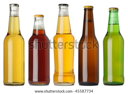 Photo of five different full beer bottles with no labels. Separate clipping path for each bottle included. Five separate photos merged together. Royalty-Free Stock Photo #45587734