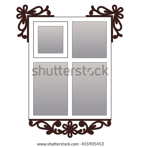 Window with carvedarchitraves #455905453