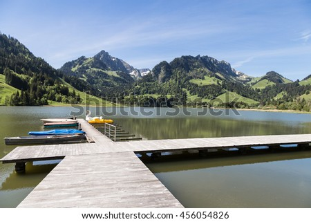 Black lake in Fribourg canton in Switzerland #456054826