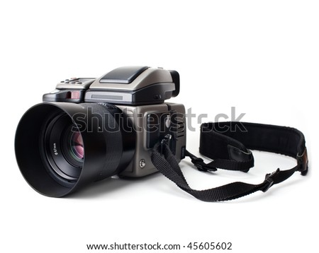 Medium format digital camera on white background