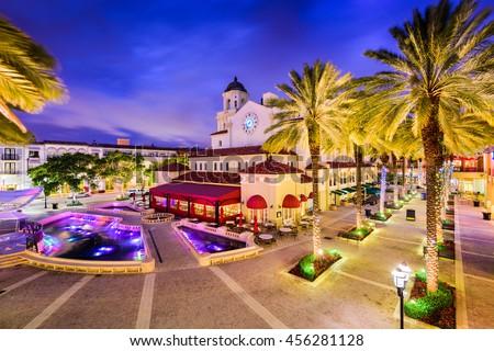 West Palm Beach, Florida, USA cityscape and plaza. #456281128