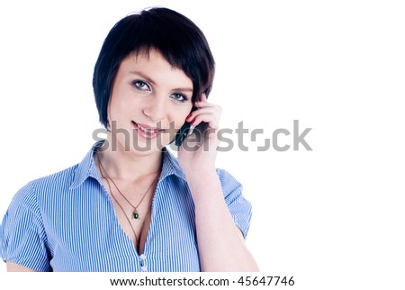 Young woman talking by mobile phone at isolated background #45647746