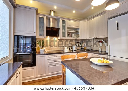 kitchen with appliances and a beautiful interior #456537334