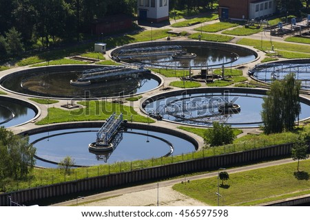Aerial view of storage tanks in sewage water treatment plant #456597598
