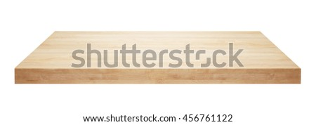 Light wooden table top isolated on white background. #456761122