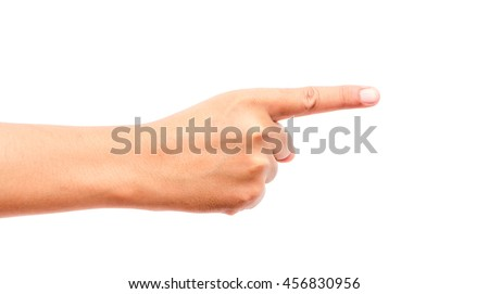 Hand finger pointing isolated on white background Royalty-Free Stock Photo #456830956