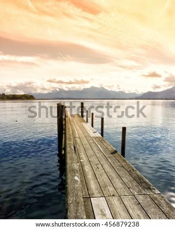 wooden jetty  lake chiemsee, bavaria, germany, europe #456879238